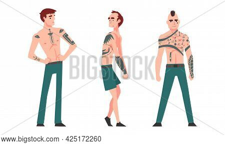 Tattooed Or Inked Man In Standing Pose Vector Set