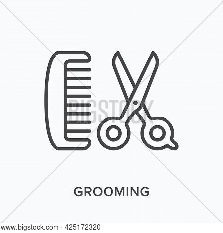 Grooming Flat Line Icon. Vector Outline Illustration Of Scissors And Hairbrush. Black Thin Linear Pi