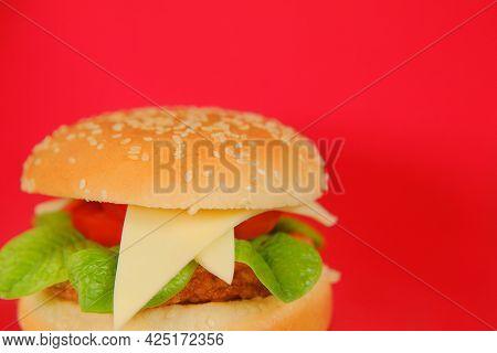 Hamburger.chicken Burger .hamburger Day Holiday.fast Food. Delicious Fresh Burger With Chicken Cutle