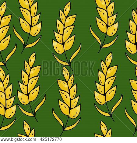 Seamless Pattern Of Bright Yellow Spikelets On A Dark Green Background Vector Illustration