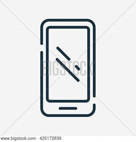 Smartphone Linear Icon. Mobile Phone Flat Outline Icon. Cell Phone Line Pictogram. Editable Stroke.