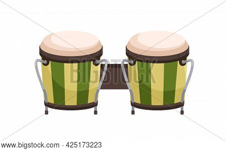 Paired Bongos Drum. African And Cuban Percussion Music Instrument. Realistic Folk Object. Colored Fl