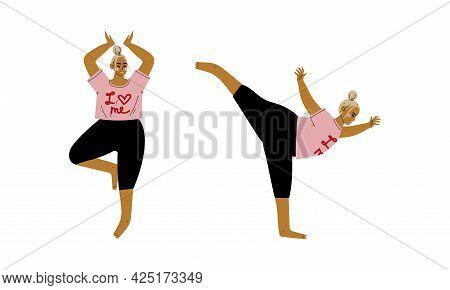 Plus Size Woman In Pink Sweatshirt Doing Yoga Standing In Asana Vector Set