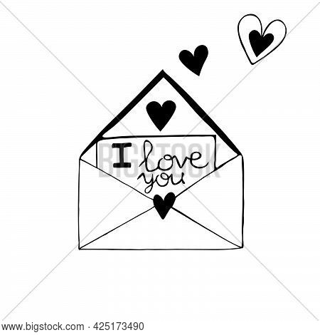 Single Doodle Element Is A Love Letter. A Declaration Of Love In A Letter. I Love You. Vector Illust