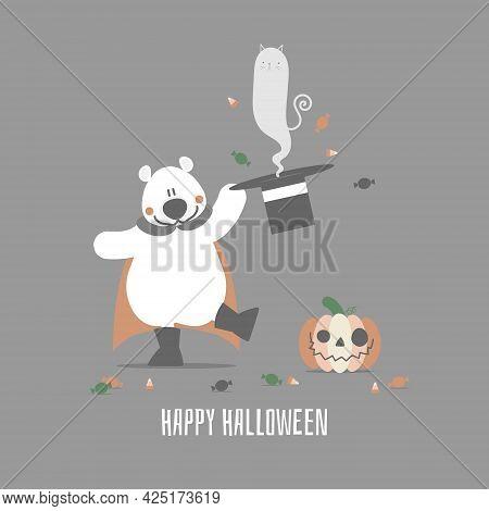 Happy Halloween Holiday Festival With Teddy Bear And Spirit Cat, Flat Vector Illustration Cartoon Ch