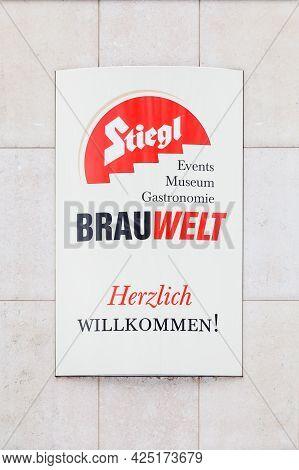 Salzburg, Austria - February 27: A Sign Welcomes Visitors To The Stiegl Brewery In Salzburg, Austria