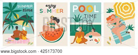 Set Of A Summer Background. Summer Swimming, Swimming, Diving In A Huge Watermelon. Couple Relaxing