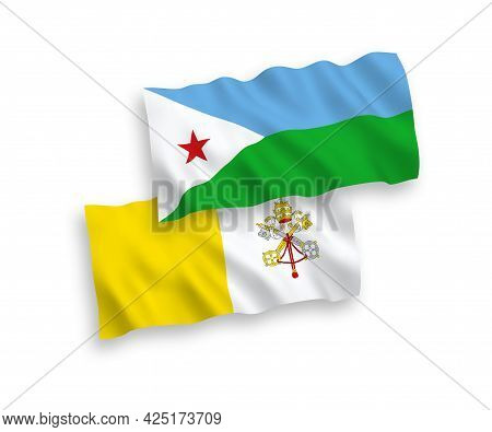 National Fabric Wave Flags Of Republic Of Djibouti And Vatican Isolated On White Background. 1 To 2