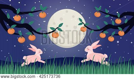 Happy Chuseok, Mid Autumn Festival Card, Poster Template For Your Design. Persimmons Tree Branch And