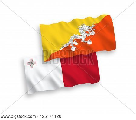 National Fabric Wave Flags Of Malta And Kingdom Of Bhutan Isolated On White Background. 1 To 2 Propo