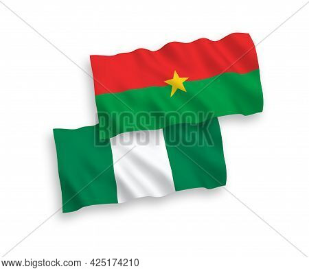 National Fabric Wave Flags Of Burkina Faso And Nigeria Isolated On White Background. 1 To 2 Proporti