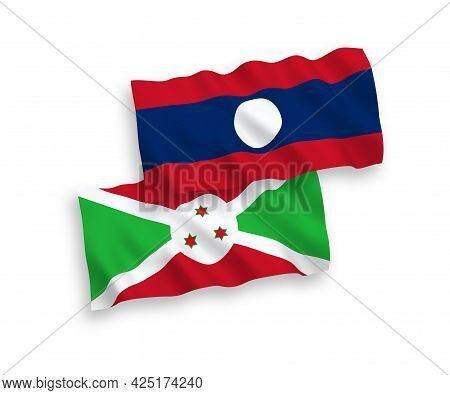 National Fabric Wave Flags Of Burundi And Laos Isolated On White Background. 1 To 2 Proportion.
