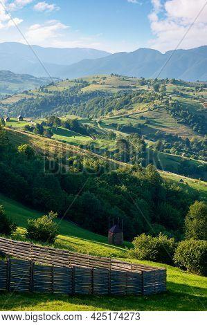 Rural Landscape In Morning Light. Wonderful Countryside Scenery Of Carpathian Mountainsin Summer. Tr
