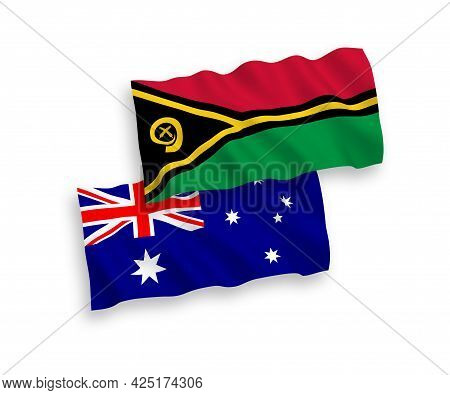 National Fabric Wave Flags Of Australia And Republic Of Vanuatu Isolated On White Background. 1 To 2