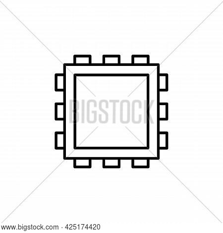 Cpu Pc Microprocessor Or Computer Chip Black Line Icon. Trendy Flat Isolated Outline Symbol Can Be U