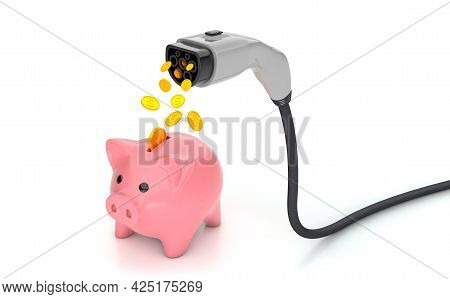 Coins Fall Into The Piggy Bank From The Plug For Charging Electric Car. Economy Fuel Concept. Isolat