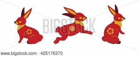 Set Of Rabbits In Different Poses Chinese Style. Bunny On A White Background Banner. Vector Illustra