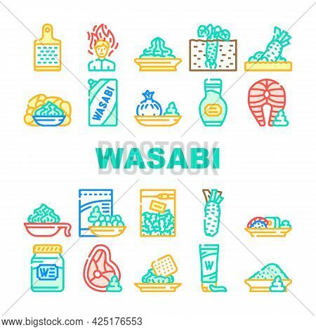 Wasabi Japanese Collection Icons Set Vector. Sushi And Snack With Wasabi, Meat And Fish With Asian F