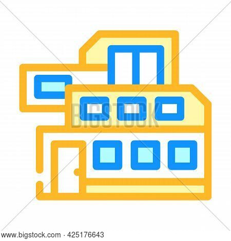 Modern House Building Color Icon Vector. Modern House Building Sign. Isolated Symbol Illustration