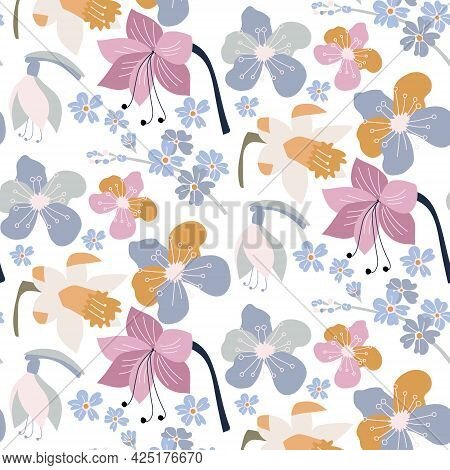Beautiful Set With Forget-me-nots, Daffodils And Fantasy Flowers In Pastel Colors
