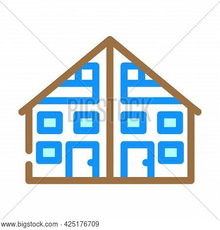 Two Family House Color Icon Vector. Two Family House Sign. Isolated Symbol Illustration