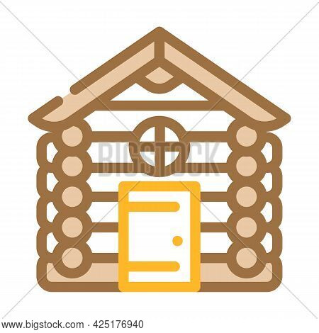 Wooden Hut House Color Icon Vector. Wooden Hut House Sign. Isolated Symbol Illustration
