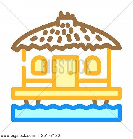Bungalow On Water House Color Icon Vector. Bungalow On Water House Sign. Isolated Symbol Illustratio