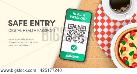 Safe Restaurant Entry Banner. Covid-19 Digital Health Passport Qr Code On Smartphone Screen Vector C