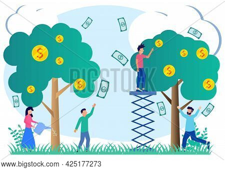 Income Flat Style Vector Illustration And Income Metaphor. People Characters Take Cash From Money Tr
