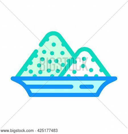Salt Heap In Plate Color Icon Vector. Salt Heap In Plate Sign. Isolated Symbol Illustration
