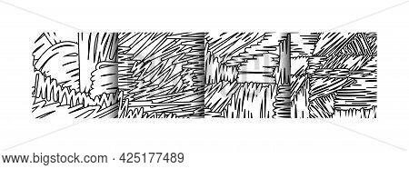 Distorted Paint Brush Warp Lines Vector Curve Line Texture Background Set, Flat Comics Liquid Stripe