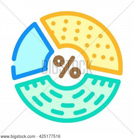 Percentage Of Protein, Fats And Carbohydrates Color Icon Vector. Percentage Of Protein, Fats And Car