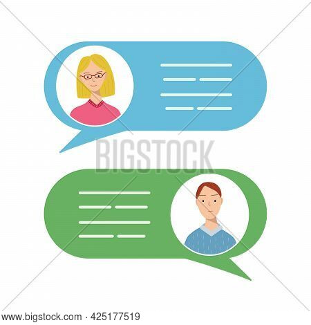 Avatars Of Men And Women In Speech Bubbles. Concept Of Chat, Message, Web Communicate, Messenger. Ve