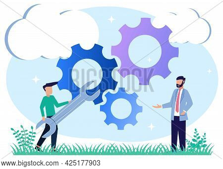 Vector Illustration, People Character Mechanism Link Business Concept, Business Mechanism, Abstract