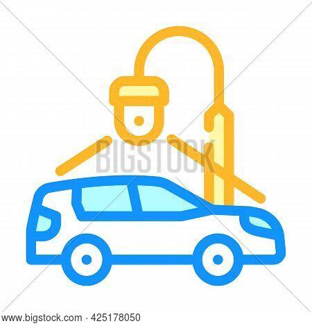 Car Parking Video Surveillance Color Icon Vector. Car Parking Video Surveillance Sign. Isolated Symb