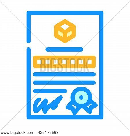 Patent Document For Production Color Icon Vector. Patent Document For Production Sign. Isolated Symb