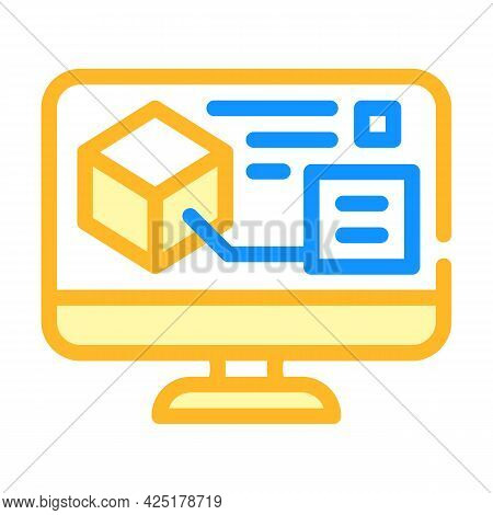 Digital Model On Computer Screen Color Icon Vector. Digital Model On Computer Screen Sign. Isolated