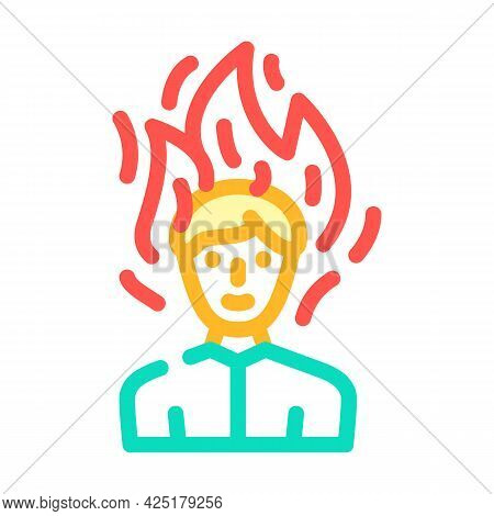 Burning Man After Wasabi Color Icon Vector. Burning Man After Wasabi Sign. Isolated Symbol Illustrat