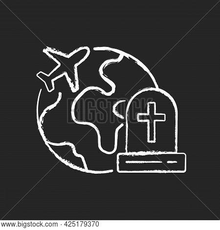 Tombstone Tourism Chalk White Icon On Dark Background. Cemetery Exploration Enthusiast Traveller. Fl