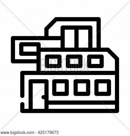 Modern House Building Line Icon Vector. Modern House Building Sign. Isolated Contour Symbol Black Il