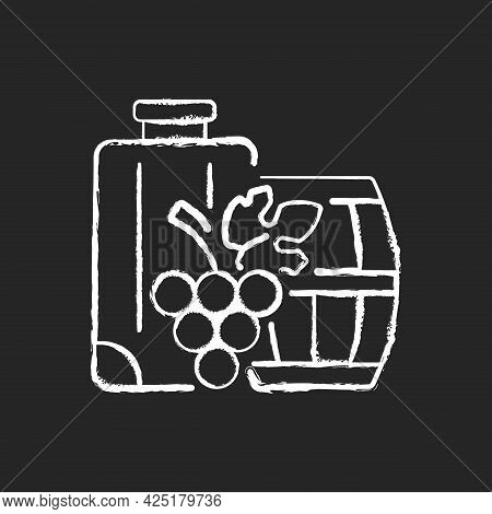 Industrial Tourism Chalk White Icon On Dark Background. Journey Abroad For Wine Tasting. Journey For