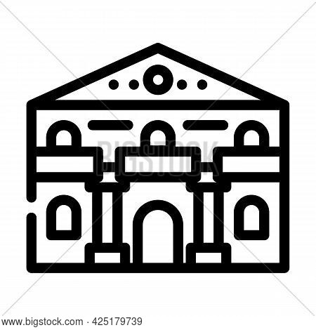 Ancient House Line Icon Vector. Ancient House Sign. Isolated Contour Symbol Black Illustration