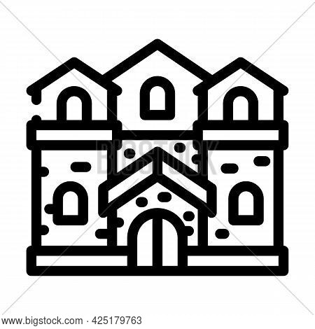 Medieval House Line Icon Vector. Medieval House Sign. Isolated Contour Symbol Black Illustration