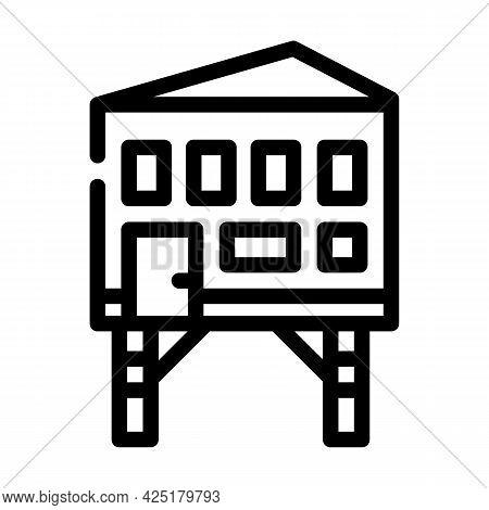 Stilt House Line Icon Vector. Stilt House Sign. Isolated Contour Symbol Black Illustration