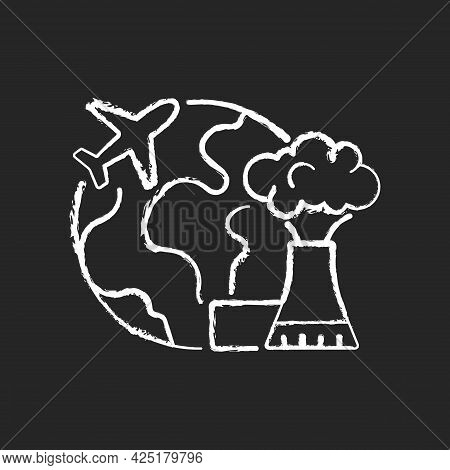 Atomic Tourism Chalk White Icon On Dark Background. Nuclear Industry Exploration Abroad. Flight To F