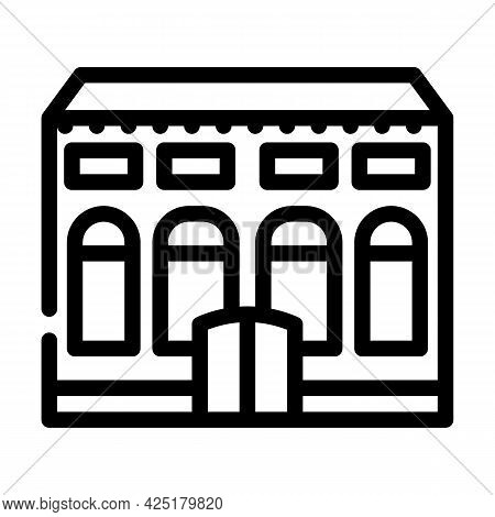 Residence House Line Icon Vector. Residence House Sign. Isolated Contour Symbol Black Illustration