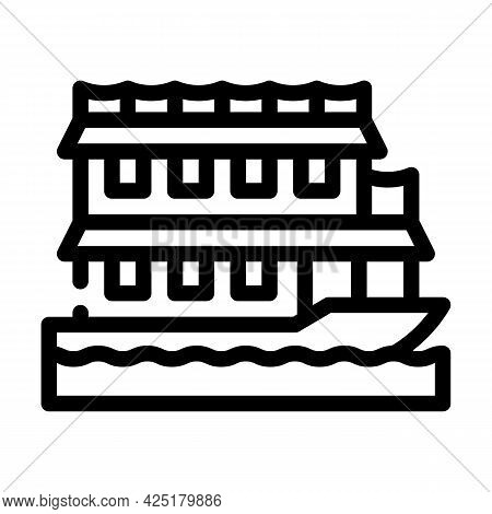 Floating Boat House Line Icon Vector. Floating Boat House Sign. Isolated Contour Symbol Black Illust