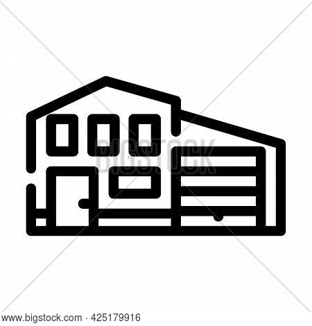 House With Garage Line Icon Vector. House With Garage Sign. Isolated Contour Symbol Black Illustrati