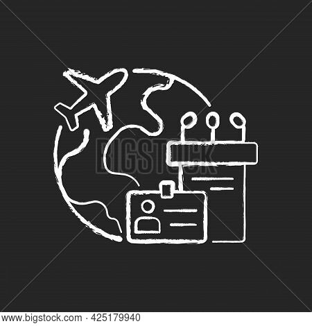Mice Tourism Chalk White Icon On Dark Background. Business Trip. International Flight For Profession