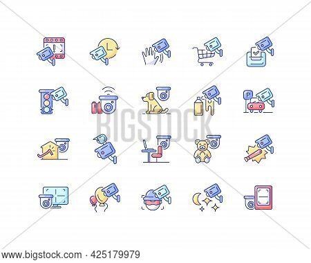 Surveillance And Security Systems Rgb Color Icons Set. Cctv Camera Installation. 24 7 Protection. Is